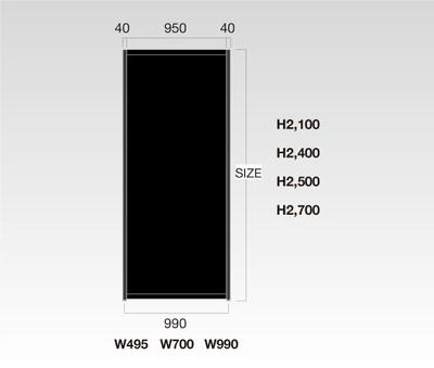 OCT-PB467×800 オクタノルムパネル 黒 H900 W500 ※467×800